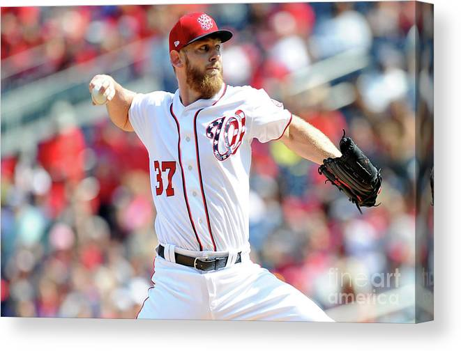 Three Quarter Length Canvas Print featuring the photograph Stephen Strasburg by Greg Fiume