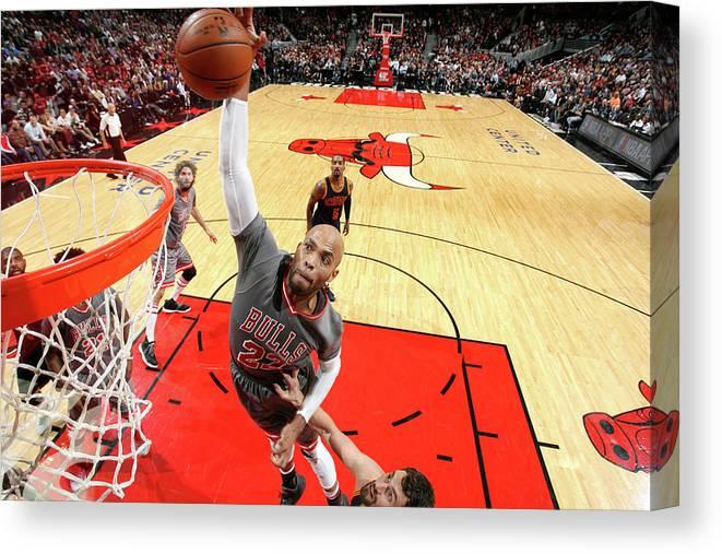 Nba Pro Basketball Canvas Print featuring the photograph Taj Gibson by David Sherman