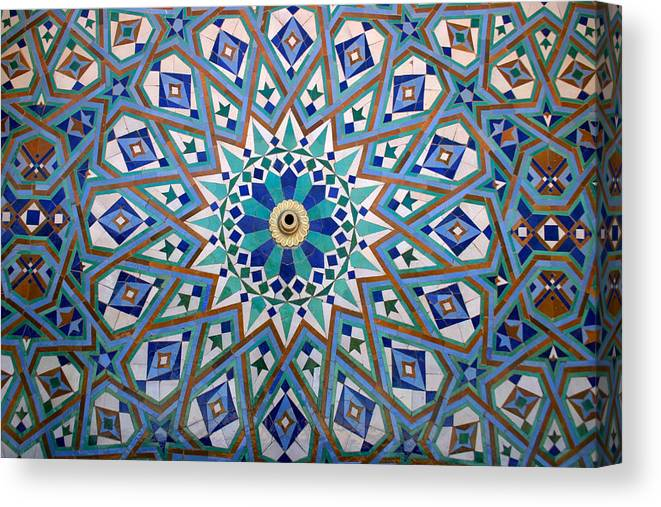 Water Fountain Canvas Print featuring the photograph Traditional Islamic Zeliji around a Water Fountain by PIXELS XPOSED Ralph A Ledergerber Photography