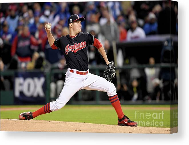 Game Two Canvas Print featuring the photograph Trevor Bauer by Jason Miller