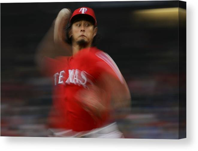 Game Two Canvas Print featuring the photograph Yu Darvish by Ronald Martinez