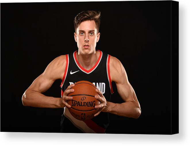 Nba Pro Basketball Canvas Print featuring the photograph Zach Collins by Brian Babineau