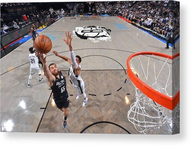 Nba Pro Basketball Canvas Print featuring the photograph 2021 NBA Playoffs - Milwaukee Bucks v Brooklyn Nets by Jesse D. Garrabrant