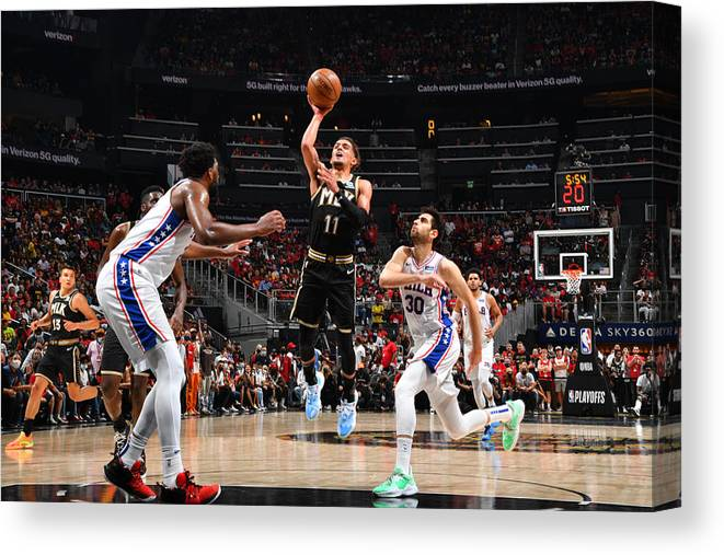Atlanta Canvas Print featuring the photograph 2021 NBA Playoffs - Philadelphia 76ers v Atlanta Hawks by Jesse D. Garrabrant