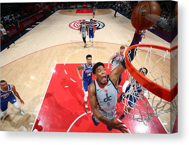 Playoffs Canvas Print featuring the photograph 2021 NBA Playoffs - Philadelphia 76ers v Washington Wizards by Stephen Gosling