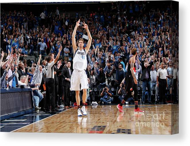 Nba Pro Basketball Canvas Print featuring the photograph Dirk Nowitzki by Glenn James