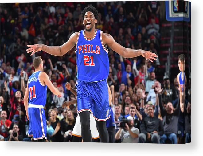 Nba Pro Basketball Canvas Print featuring the photograph Joel Embiid by Jesse D. Garrabrant