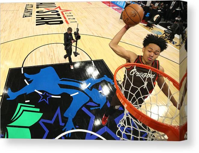Atlanta Canvas Print featuring the photograph 2021 NBA All-Star - AT&T Slam Dunk Contest by Joe Murphy