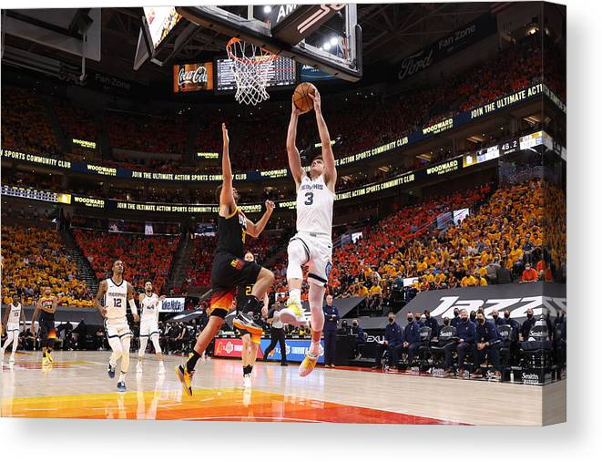 Playoffs Canvas Print featuring the photograph 2021 NBA Playoffs - Memphis Grizzlies v Utah Jazz by Joe Murphy