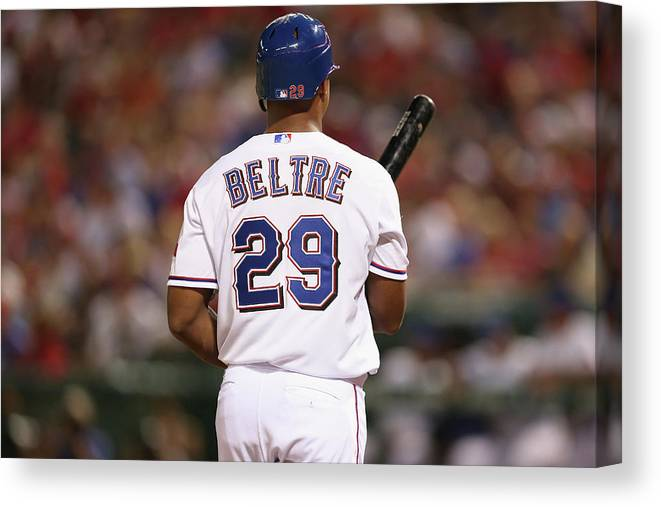 Adrian Beltre Canvas Print featuring the photograph Adrian Beltre by Ronald Martinez