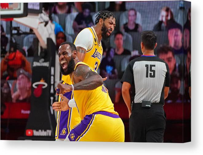 Playoffs Canvas Print featuring the photograph Anthony Davis and Lebron James by Jesse D. Garrabrant