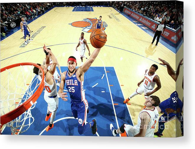Nba Pro Basketball Canvas Print featuring the photograph Ben Simmons by Nathaniel S. Butler