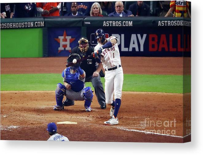 American League Baseball Canvas Print featuring the photograph Carlos Correa by Ezra Shaw