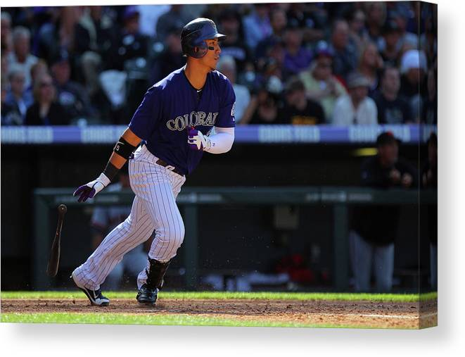 National League Baseball Canvas Print featuring the photograph Carlos Gonzalez by Doug Pensinger