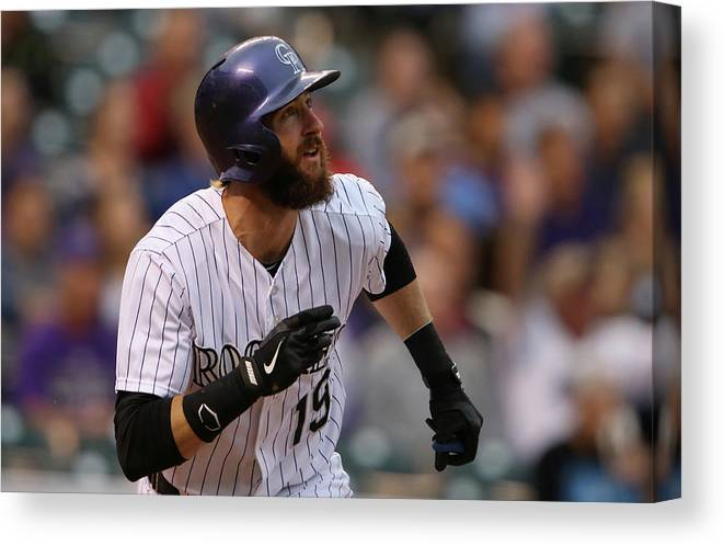 American League Baseball Canvas Print featuring the photograph Charlie Blackmon by Doug Pensinger