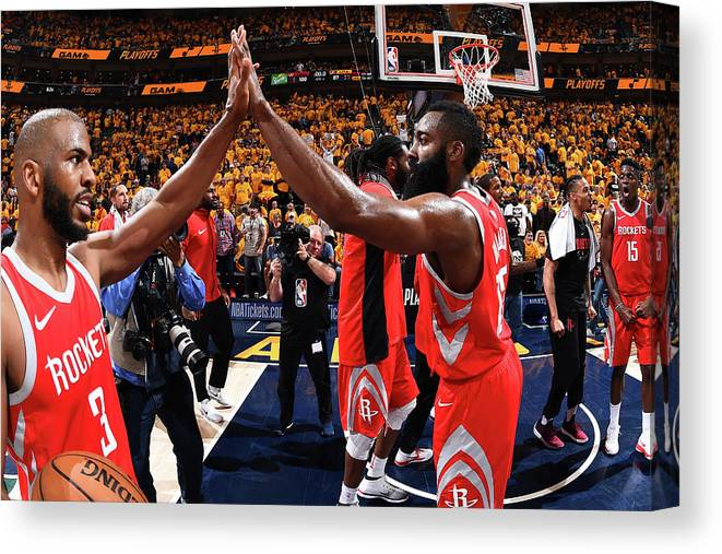 Playoffs Canvas Print featuring the photograph Chris Paul and James Harden by Andrew D. Bernstein