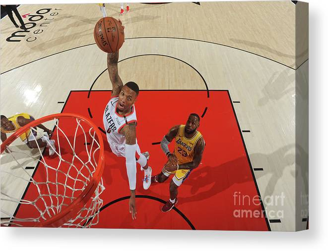 Nba Pro Basketball Canvas Print featuring the photograph Damian Lillard by Andrew D. Bernstein
