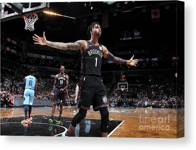 Nba Pro Basketball Canvas Print featuring the photograph D'angelo Russell by Nathaniel S. Butler