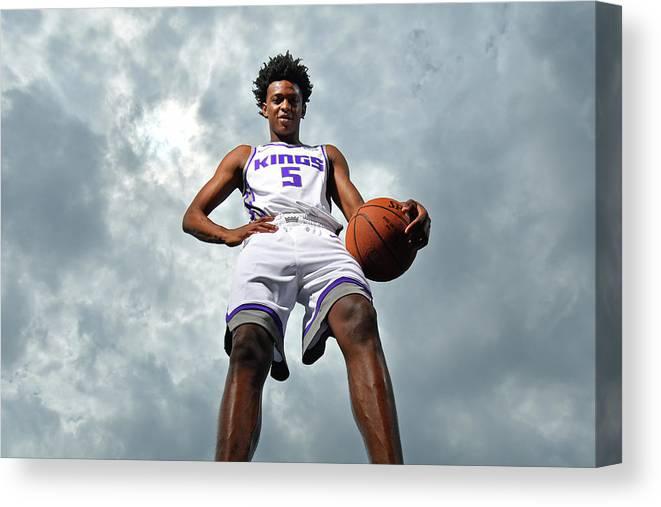 Nba Pro Basketball Canvas Print featuring the photograph De'aaron Fox by Jesse D. Garrabrant