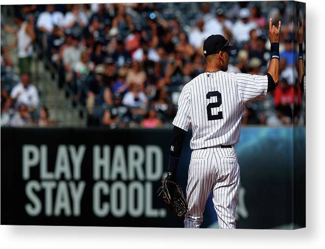 Derek Jeter Canvas Print featuring the photograph Derek Jeter by Elsa