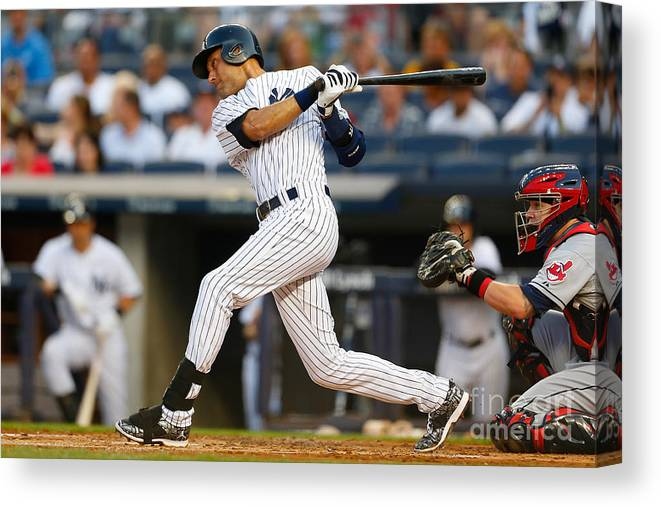 People Canvas Print featuring the photograph Derek Jeter by Mike Stobe