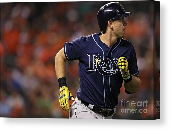 Three Quarter Length Canvas Print featuring the photograph Evan Longoria by Patrick Smith