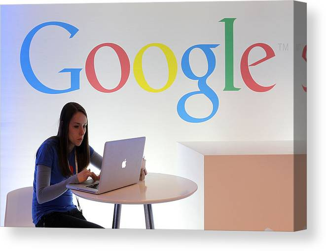 Working Canvas Print featuring the photograph Google Holds News Conference by Justin Sullivan