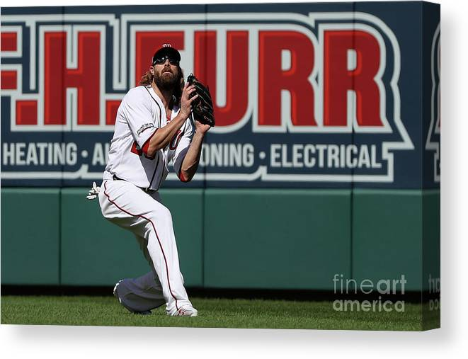 Game Two Canvas Print featuring the photograph Jayson Werth by Patrick Smith