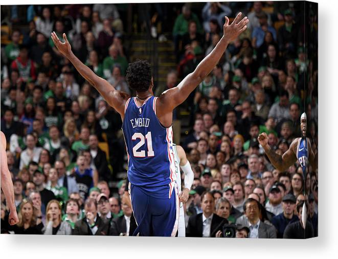Nba Pro Basketball Canvas Print featuring the photograph Joel Embiid by Brian Babineau