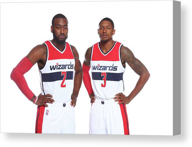 Nba Pro Basketball Canvas Print featuring the photograph John Wall and Bradley Beal by Ned Dishman