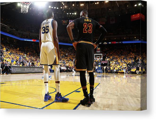Playoffs Canvas Print featuring the photograph Kevin Durant and Lebron James by Nathaniel S. Butler