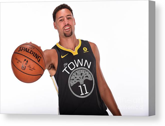 Media Day Canvas Print featuring the photograph Klay Thompson by Noah Graham