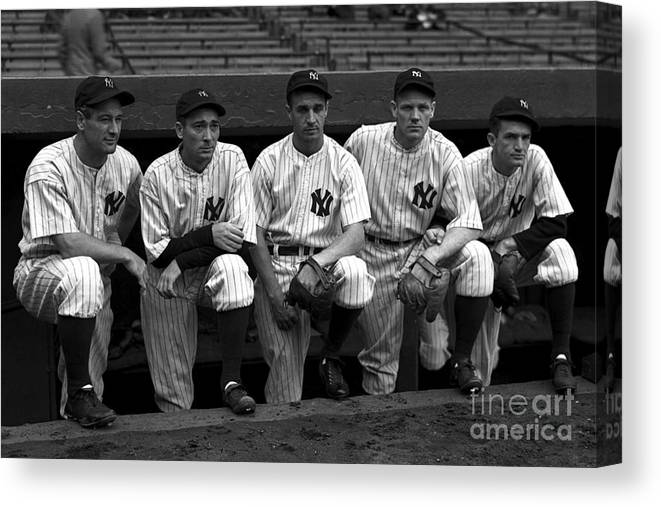 People Canvas Print featuring the photograph Lou Gehrig by Kidwiler Collection