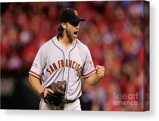 Celebration Canvas Print featuring the photograph Madison Bumgarner by Jamie Squire