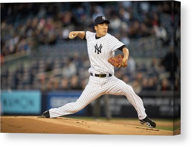 American League Baseball Canvas Print featuring the photograph Masahiro Tanaka by Rob Tringali