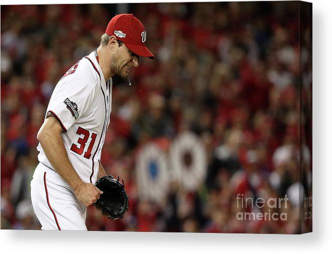 Three Quarter Length Canvas Print featuring the photograph Max Scherzer by Patrick Smith