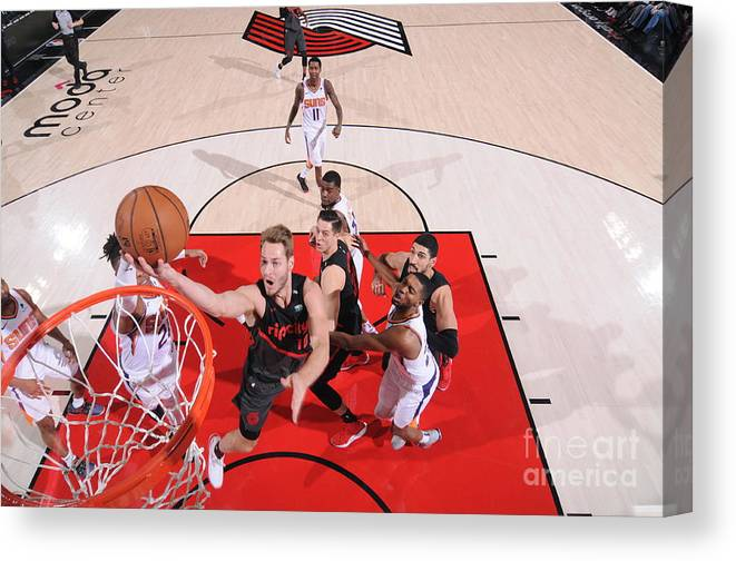 Meyers Leonard Canvas Print featuring the photograph Meyers Leonard by Sam Forencich