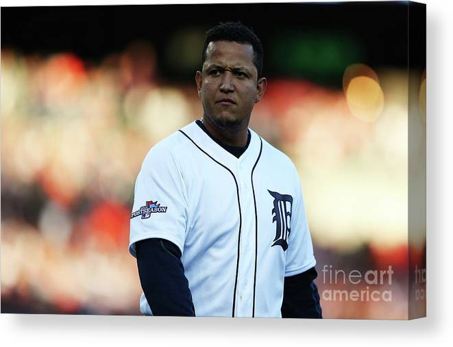 American League Baseball Canvas Print featuring the photograph Miguel Cabrera by Leon Halip