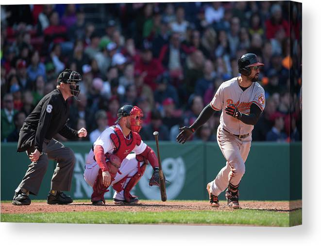 East Canvas Print featuring the photograph Nick Markakis by Rob Tringali