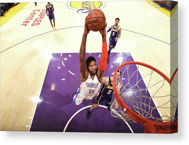 Nba Pro Basketball Canvas Print featuring the photograph Paul George by Andrew D. Bernstein