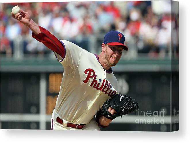 Citizens Bank Park Canvas Print featuring the photograph Roy Halladay by Jim Mcisaac