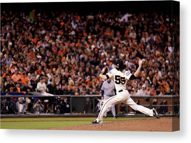 San Francisco Canvas Print featuring the photograph Tim Lincecum by Christian Petersen