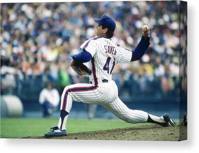 Archive Historical Profile Sideview Side View Mlb Major League B Canvas Print featuring the photograph Tom Seaver by Rich Pilling