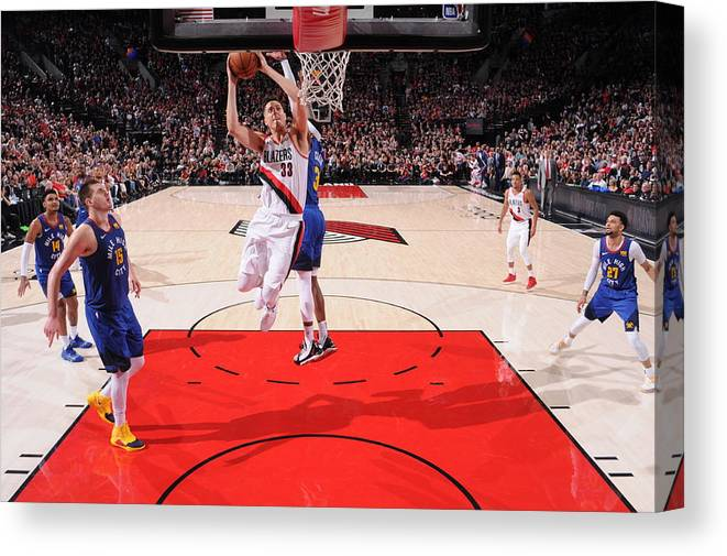 Nba Pro Basketball Canvas Print featuring the photograph Zach Collins by Sam Forencich