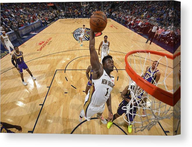 Smoothie King Center Canvas Print featuring the photograph Zion Williamson by Jesse D. Garrabrant