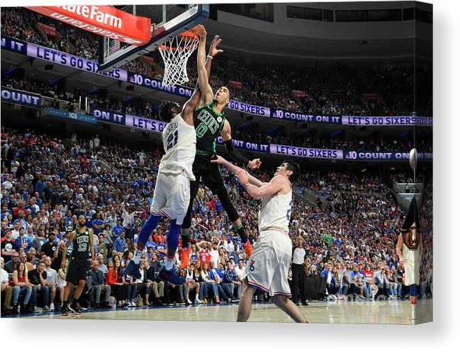 Playoffs Canvas Print featuring the photograph Jayson Tatum by Brian Babineau