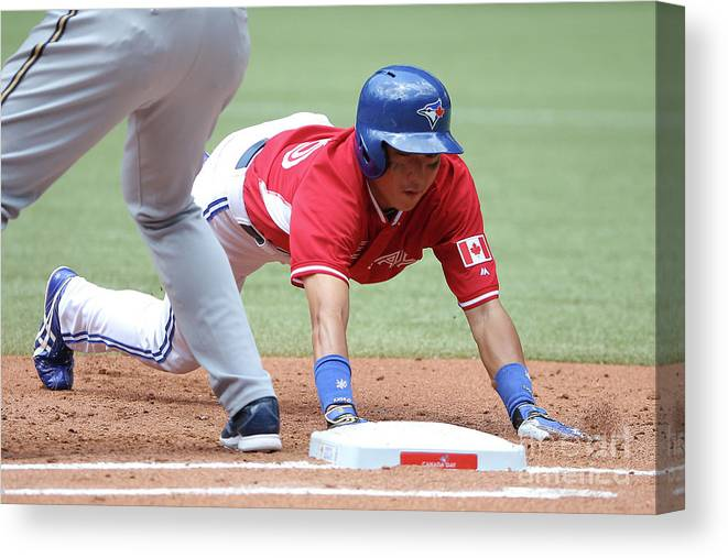 American League Baseball Canvas Print featuring the photograph Jay Rogers by Tom Szczerbowski