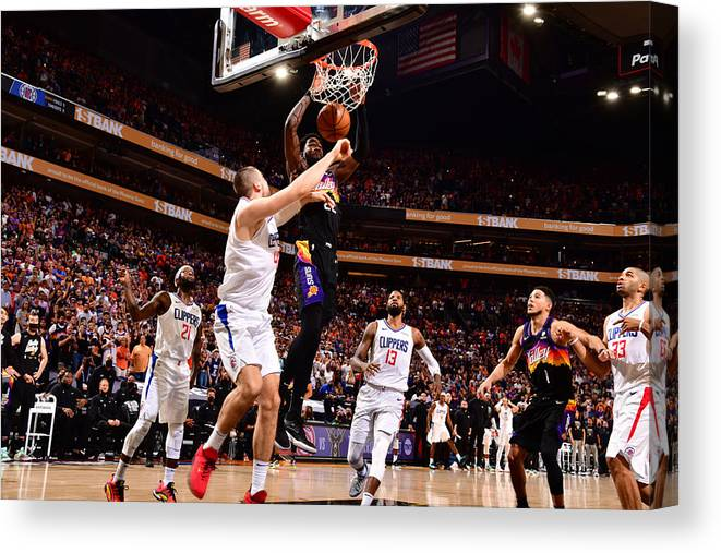 Playoffs Canvas Print featuring the photograph 2021 NBA Playoffs - LA Clippers v Phoenix Suns by Barry Gossage