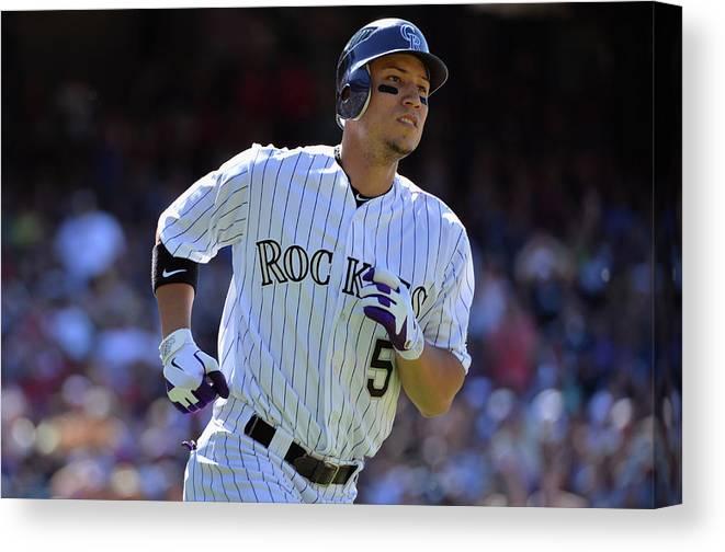 American League Baseball Canvas Print featuring the photograph Carlos Gonzalez by Doug Pensinger
