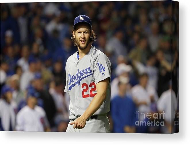 Game Two Canvas Print featuring the photograph Clayton Kershaw by Jamie Squire